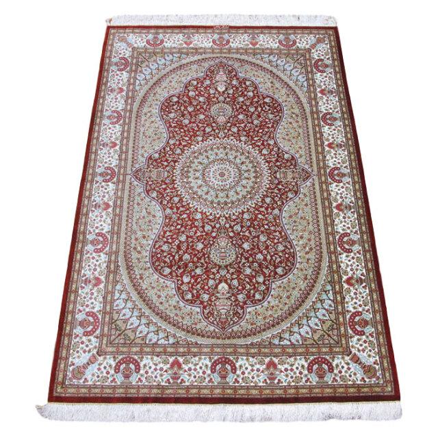 【キャンペーン割】ペルシャ絨毯クム、シルク100% 200×131cm(FL-160907)