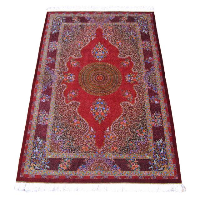 【キャンペーン割】ペルシャ絨毯クム、シルク100% 193×131cm(FL-160908)