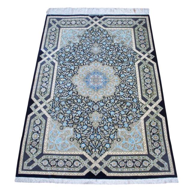 【キャンペーン割】ペルシャ絨毯クム、シルク100% 203×134cm(FL-160910)