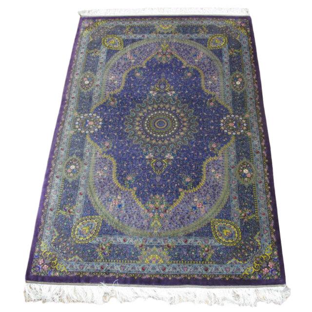 【キャンペーン割】ペルシャ絨毯クム、シルク100% ジャムシーディ 207×134cm(FL-96118)