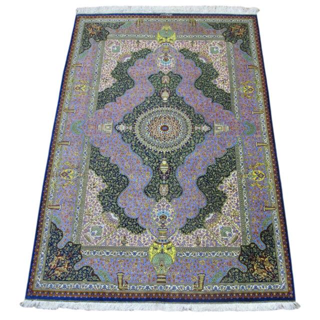 【キャンペーン割】ペルシャ絨毯クム、シルク100% ジャムシーディ 200×131cm(FL-40)