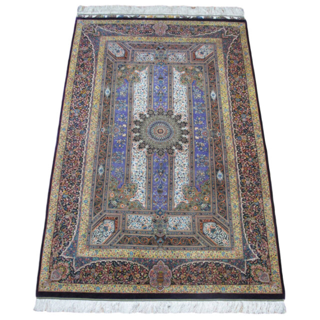 【キャンペーン割】ペルシャ絨毯クム、シルク100% ジャムシーディ 221×136cm(FL-9693)