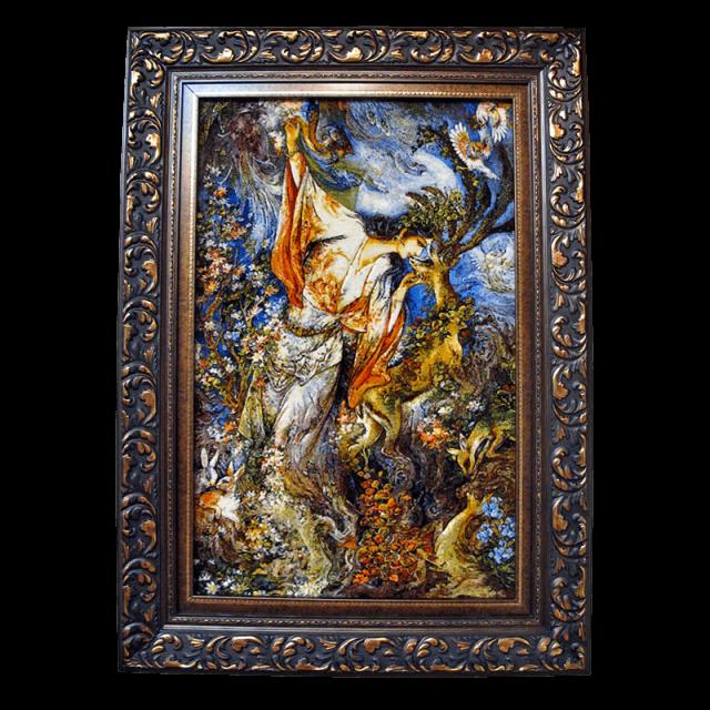 絵画・ペルシャ絨毯・タブリーズ 88×124cm(FS-883T)