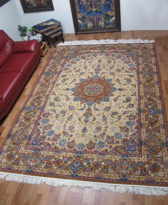 【3/10まで】ペルシャ絨毯スファハン・アブドルレザナッスル 354×249cm(FX-70)