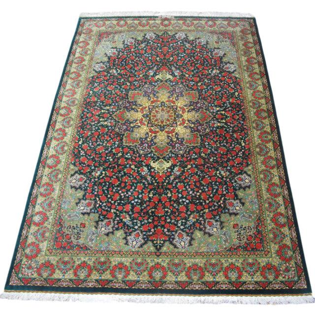 【キャンペーン割】ペルシャ絨毯クム、シルク100% ラジャビアン 295×200cm(FX-18081)