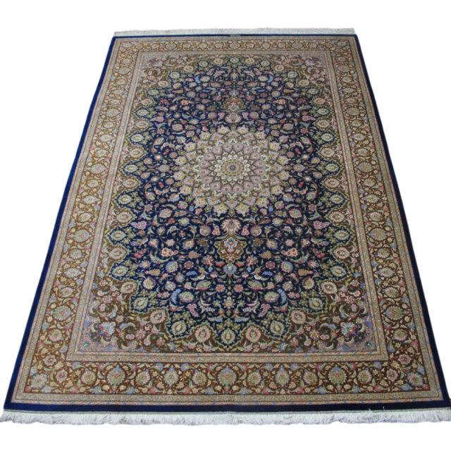 ペルシャ絨毯クム、シルク100% モハンマディ 297×200cm(FX-18082)