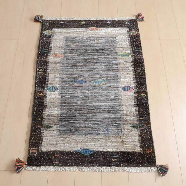 ギャッベ(ギャベ) 玄関マットサイズ 手織り 草木染 イラン直輸入