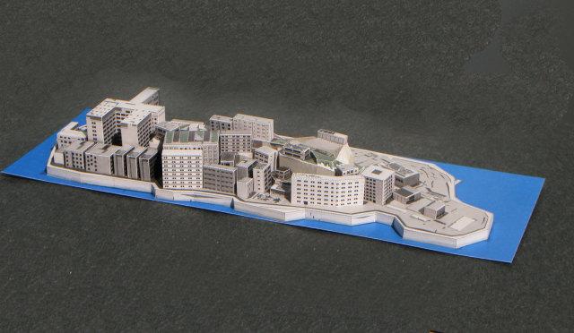 軍艦島ペーパークラフト完成図