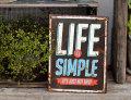 アンティーク エンボスサイン LIFE IS SIMPLE