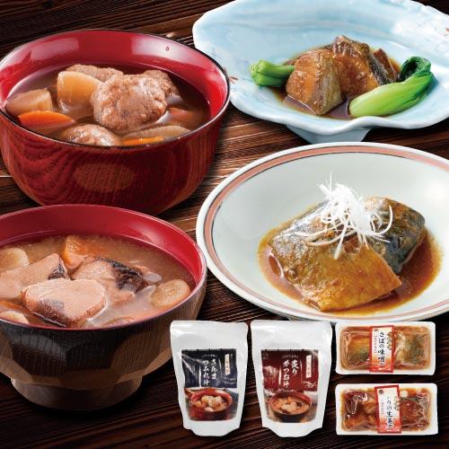 具だくさん魚介スープと煮魚セット