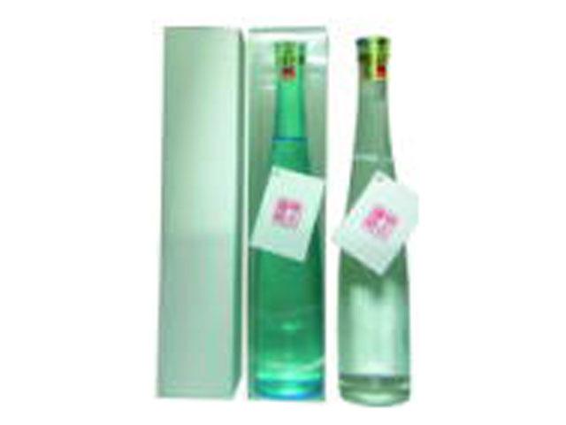 オリジナルラベル スリム瓶 クリアカートン入り 純米酒 375ml 24本 (あさぎ・透明)