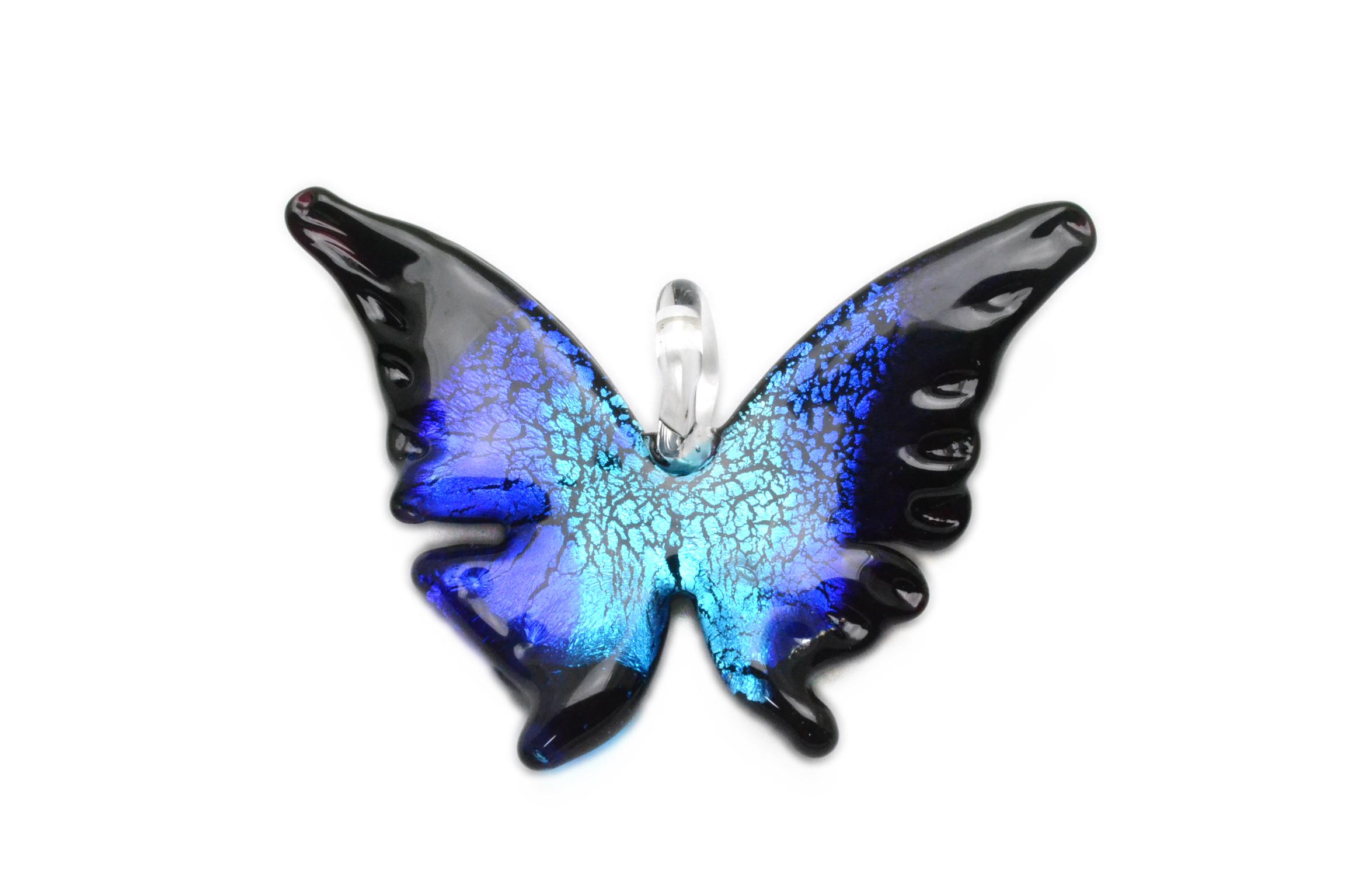 ムラーノグラス 蝶のペンダント ブルー ネックレス付き