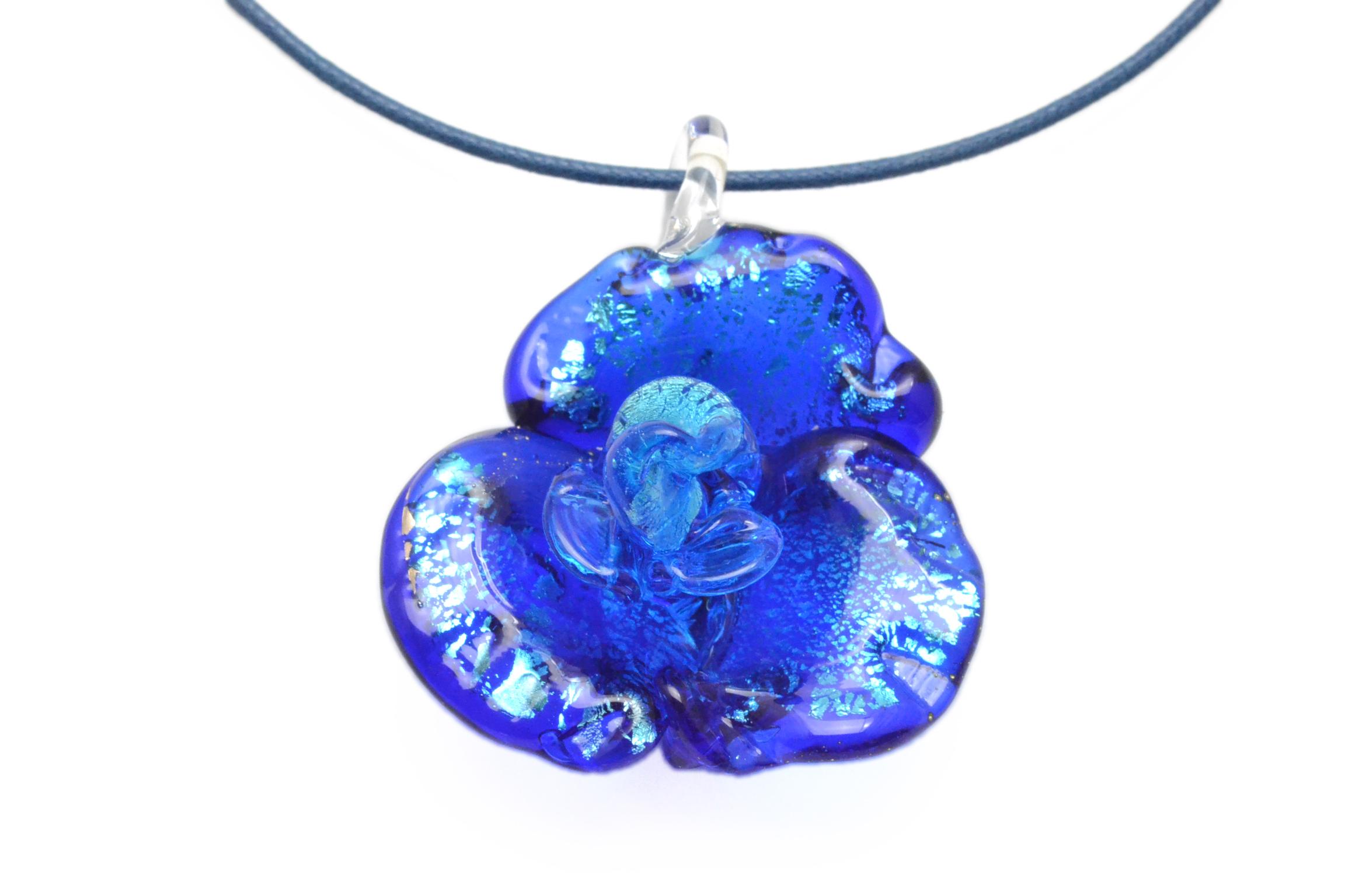 ムラーノグラス バラのペンダント ブルー&シルバー ネックレス付き