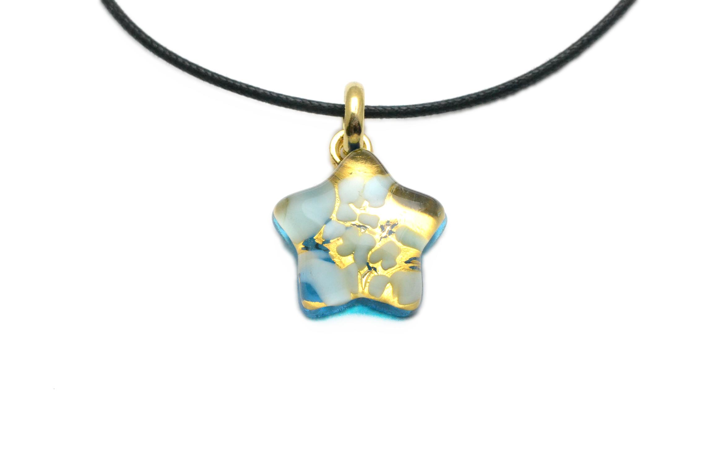 ムラーノグラスペンダント 星型ペンダントトップ ライトブルー&ゴールド ネックレス付き