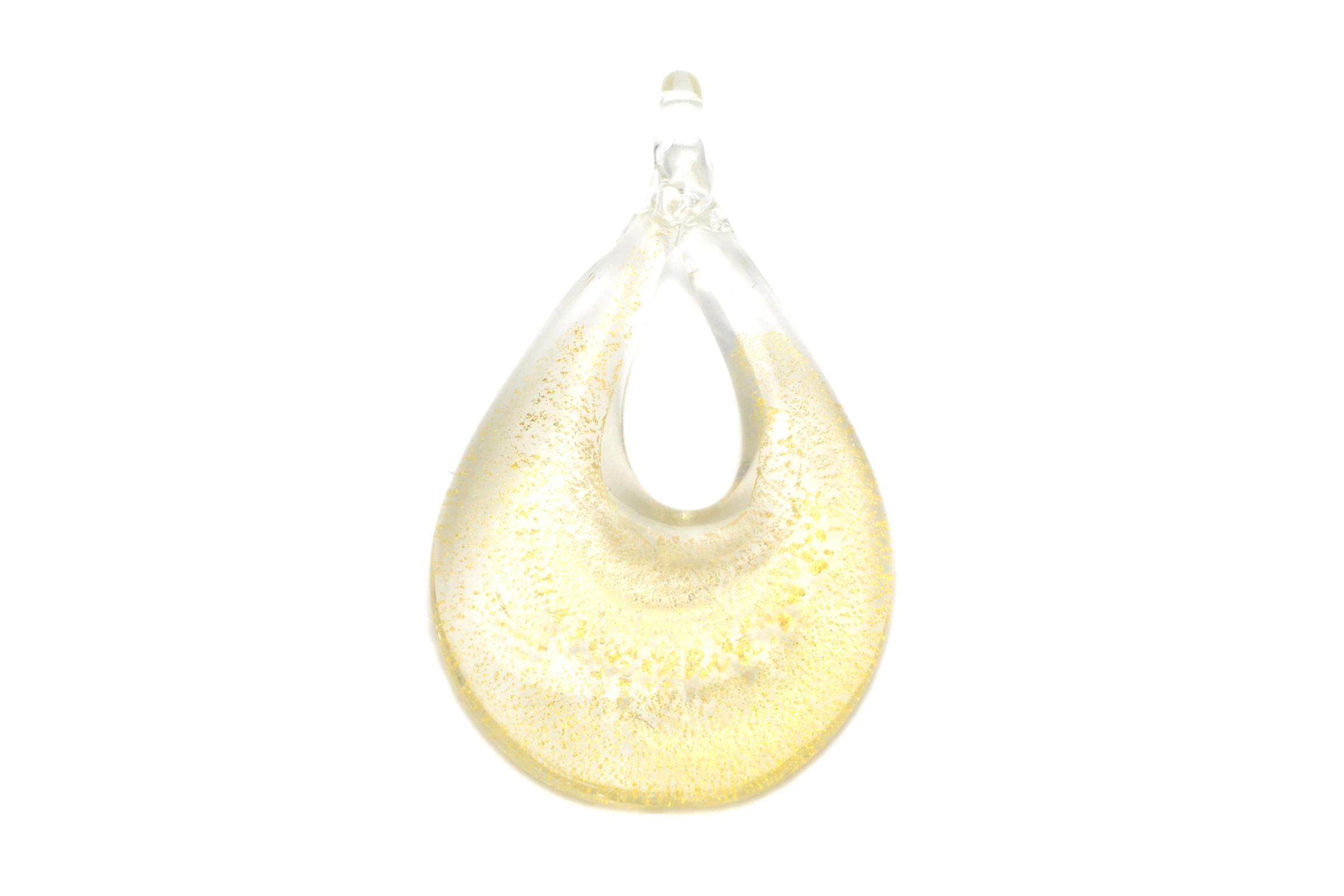 ムラーノグラス ティアドロップペンダント クリア×ゴールド ネックレス付き