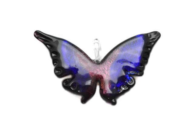 ムラーノグラス 蝶のペンダント パープル ネックレス付き