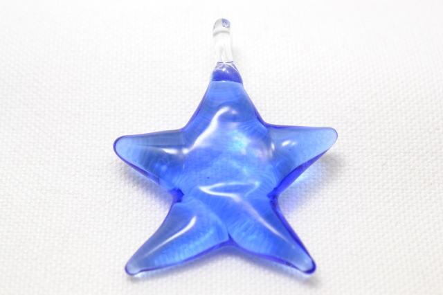 ムラーノグラス 星型ペンダント スカイブルー ネックレス付き