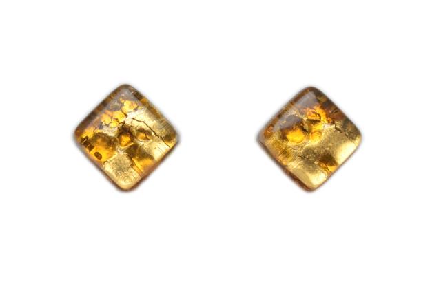 ムラーノグラス スクエア型イヤリング ゴールドカラー&ゴールド