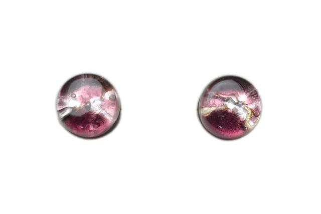 ムラーノグラス サークル型ピアス  ピンクパープル&シルバー