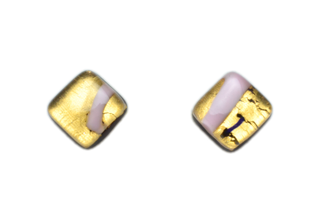 ムラーノグラス スクエア型ピアス ピンク&ゴールド