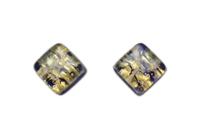 ムラーノグラス スクエア型ピアス ネイビー&ゴールド