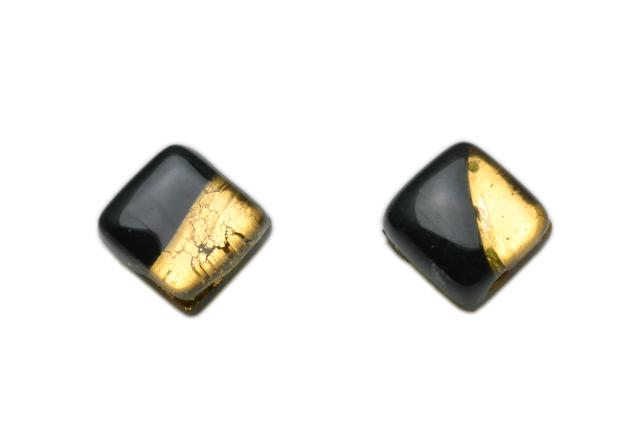 ムラーノグラス スクエア型ピアス ブラック&ゴールド