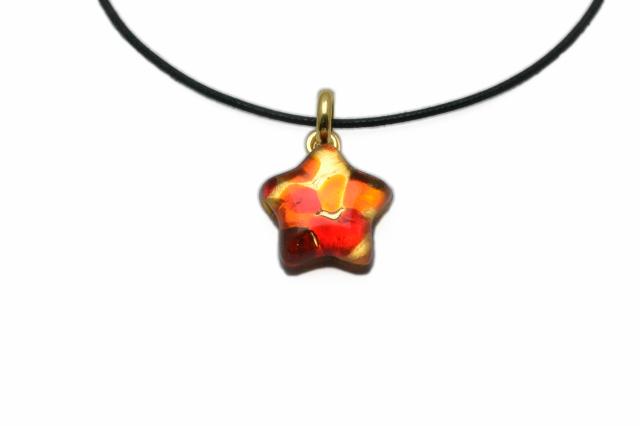 ムラーノグラスペンダント 星型ペンダントトップ レッド×オレンジ&ゴールド ネックレス付き