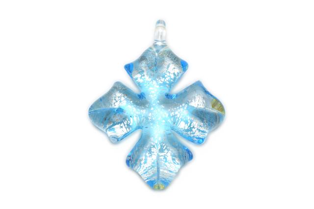 ムラーノグラス クロスペンダント ライトブルー×シルバー ネックレス付き