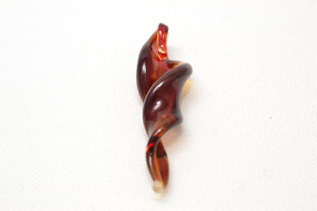 ムラーノグラス スパイラル型ペンダント クリアレッド ネックレス付き