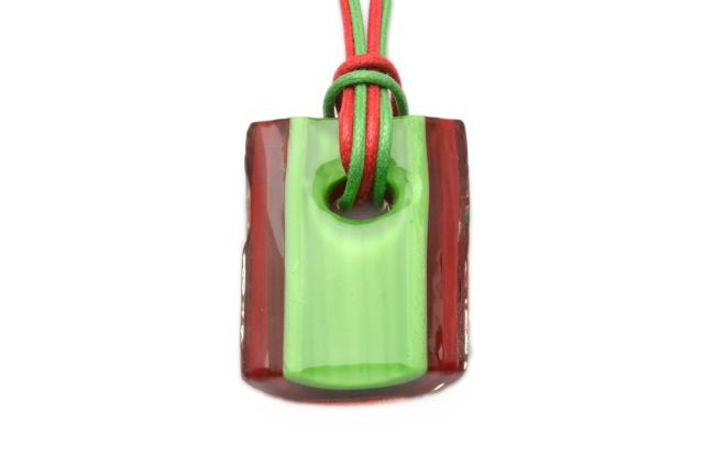 ムラーノグラスペンダント トロンケッティ レッド×ライトグリーン フリーサイズネックレス付き