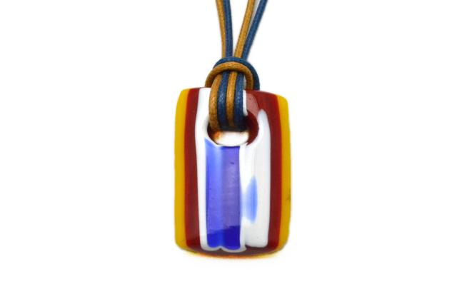 ムラーノグラスペンダント トロンケッティ ブルー×レッド×ホワイト×オレンジ フリーサイズネックレス付き