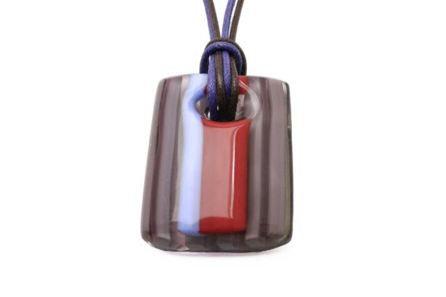 ムラーノグラスペンダント ブルー×ホワイト フリーサイズネックレス付き