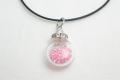 ムラーノグラスペンダント 小瓶型ペンダントトップ(サークル) ピンク ネックレス付き