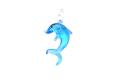 ムラーノグラス イルカのペンダント マリンブルー ネックレス付き