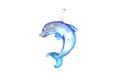ムラーノグラス イルカのペンダント ブルー ネックレス付き