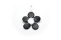 ムラーノグラス フラワー型のペンダント ブラック ネックレス付き