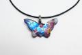 ムラーノグラスペンダント 蝶のモチーフのペンダントトップ ブルーモザイク&シルバー ネックレス付き