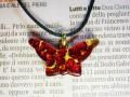 ムラーノグラスペンダント 蝶のモチーフのペンダントトップ レッド&ゴールド ネックレス付き