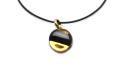 ムラーノグラスペンダント サークル型ペンダントトップ15mm ブラック&ゴールド ネックレス付き
