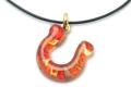 ムラーノグラスペンダント 馬蹄のペンダントトップ レッド×オレンジ&ゴールド ネックレス付き