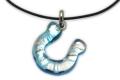 ムラーノグラスペンダント 馬蹄のペンダントトップ ライトブルー&シルバー ネックレス付き
