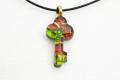 ムラーノグラスペンダント 鍵型ペンダントトップ27mm レッド×グリーン&ゴールド ネックレス付き