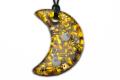 ムラーノグラスペンダント 月型ペンダントトップ50mm オレンジ&ゴールド ネックレス付き