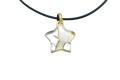 ムラーノグラスペンダント 星型ペンダントトップ ホワイト×シルバー&ゴールド ネックレス付き