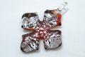 ムラーノグラス クロスペンダント レッド&925シルバー ネックレス付き
