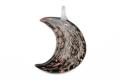 ムラーノグラス 三日月形ペンダント ブラック&カッパー ネックレス付き
