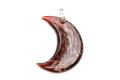 ムラーノグラス 三日月形ペンダント レッド&カッパー ネックレス付き