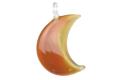 ムラーノグラス 三日月形ペンダント マロン ネックレス付き