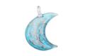 ムラーノグラス 三日月形ペンダント ライトブルー×カッパー ネックレス付き