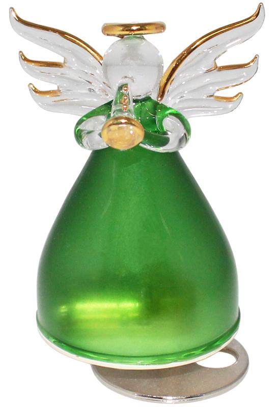 ガラスの天使オルゴール 楽器持ち【グリーン】